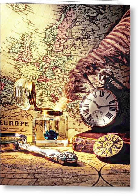 Old Maps And Ink Well Greeting Card by Garry Gay