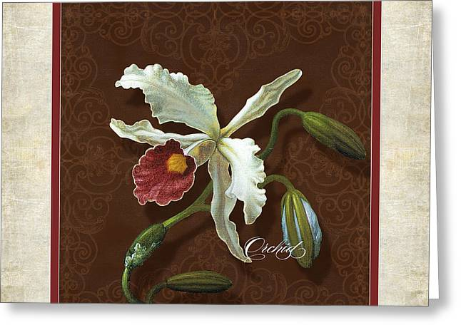 Off-white Greeting Cards - Old masters Reimagined - Cattleya Orchid Greeting Card by Audrey Jeanne Roberts