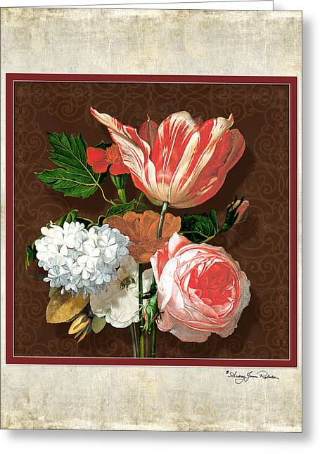 Moss Green Greeting Cards - Old masters Reimagined - Parrot Tulip Greeting Card by Audrey Jeanne Roberts