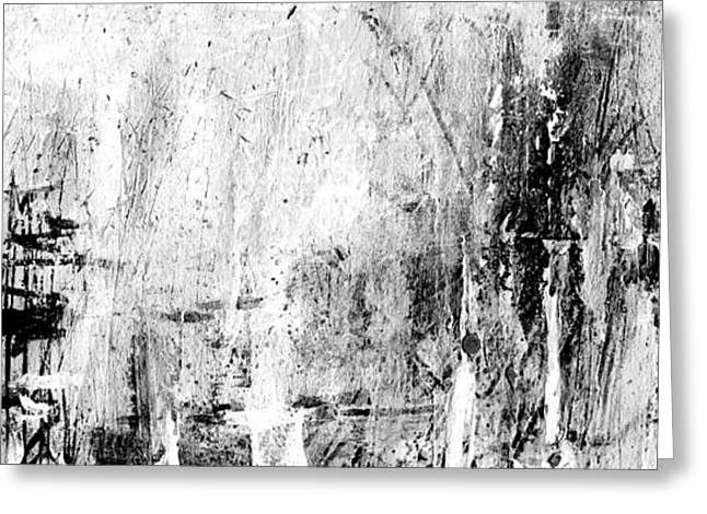 Negro Drawings Greeting Cards - Old Memories - Balck and White Abstract Art by Laura Gomez - Strip-Long Size Greeting Card by Laura  Gomez