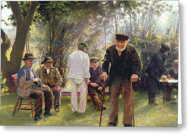 Happy Man Greeting Cards - Old Men in Rockingham Park Greeting Card by Walter Bonner Gash