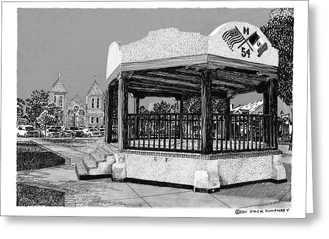 Pen And Ink Framed Prints Greeting Cards - Old Mesilla Plaza and Gazebo Greeting Card by Jack Pumphrey