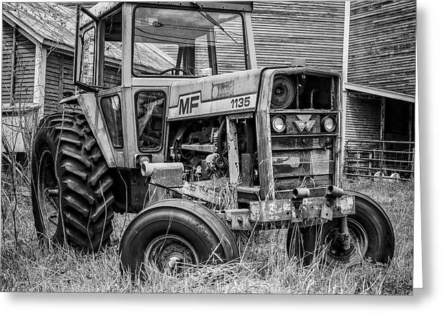 Round Barn Greeting Cards - Old MF Tractor Square Greeting Card by Edward Fielding