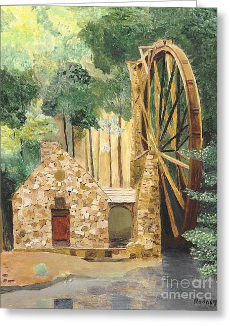 Grist Mill Paintings Greeting Cards - Old Mill at Berry College Greeting Card by Rodney Campbell