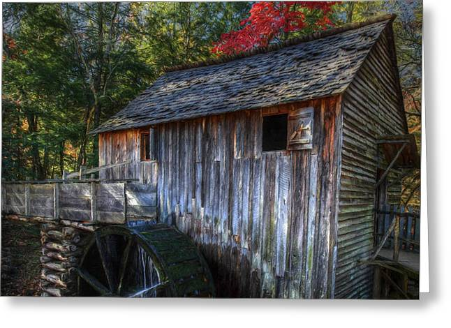Grist Mill Greeting Cards - Old Mill in Fall  Greeting Card by Dave Bosse