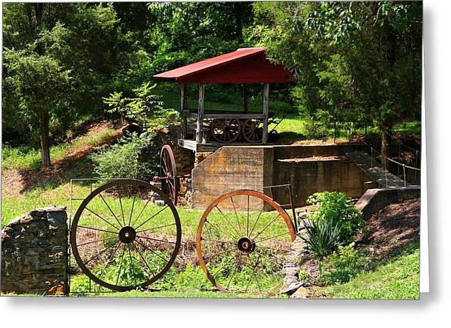 Outbuildings Greeting Cards - Old Mill of Guilford Setting Greeting Card by Kathryn Meyer