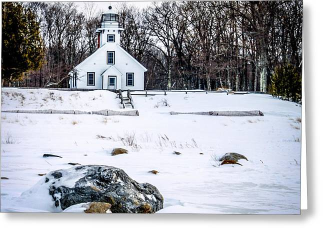 Recently Sold -  - North Sea Greeting Cards - Old Mission Point Lighthouse Greeting Card by Optical Playground By MP Ray