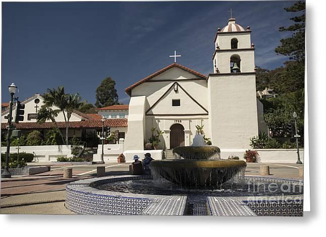 Ventura California Greeting Cards - Old Mission San Buenaventura Greeting Card by David Bearden