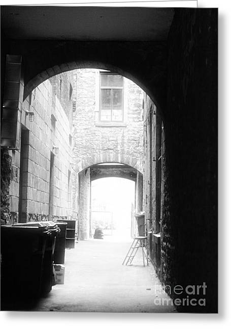 Old Montreal Greeting Cards - Old Montreal Alley Greeting Card by John Rizzuto