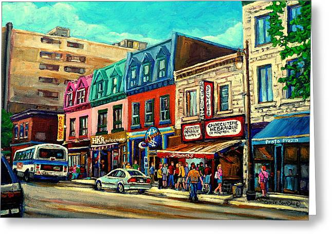 The Plateaus Paintings Greeting Cards - Old Montreal Schwartzs Deli Plateau Montreal City Scenes Greeting Card by Carole Spandau