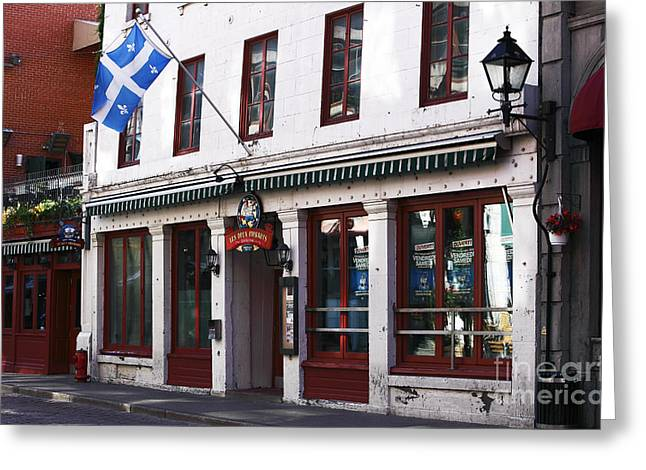 Quebec Province Greeting Cards - Old Montreal Storefront Greeting Card by John Rizzuto