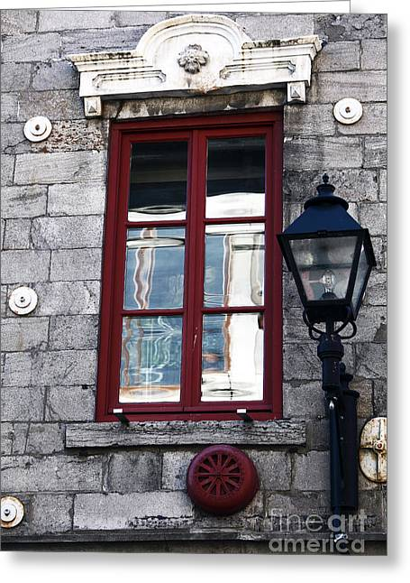 Old Montreal Greeting Cards - Old Montreal Window Greeting Card by John Rizzuto