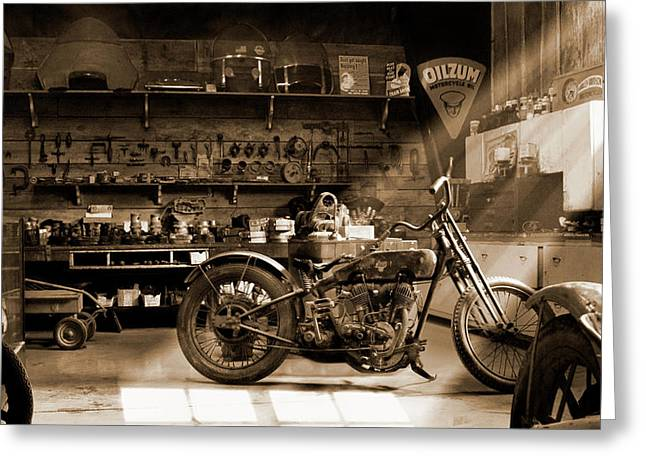 Sepia Greeting Cards - Old Motorcycle Shop Greeting Card by Mike McGlothlen