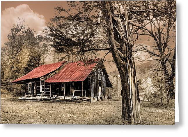 Mountain Cabin Greeting Cards - Old Mountain Cabin Greeting Card by Debra and Dave Vanderlaan