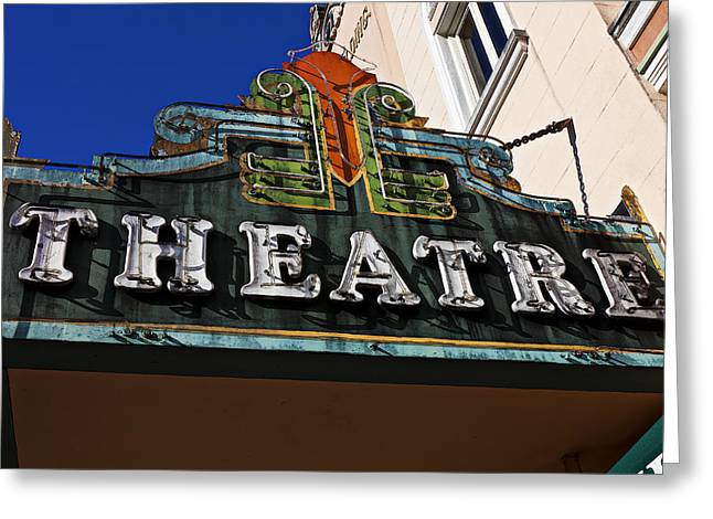 Facility Greeting Cards - Old Movie Theatre Sign Greeting Card by Garry Gay