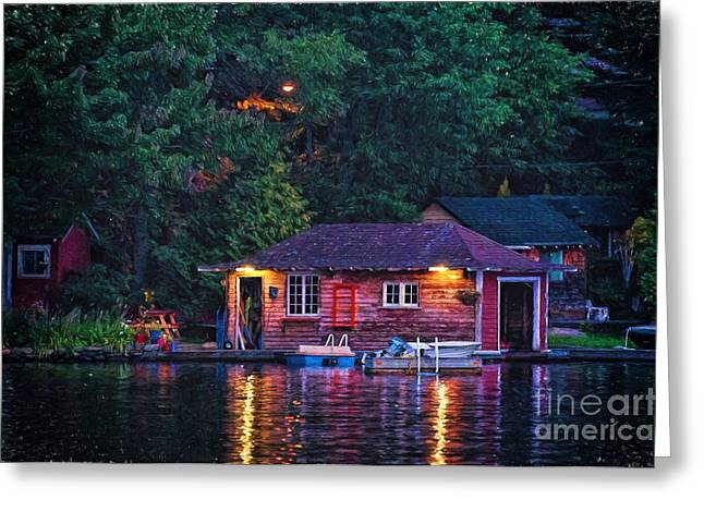 Night Lamp Greeting Cards - Old Muskoka boathouse at night Greeting Card by Les Palenik
