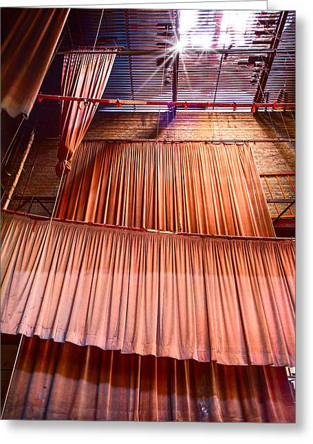 Abandoned Houses Greeting Cards - Old Neglected Movie Theatre Curtains Greeting Card by Dirk Ercken