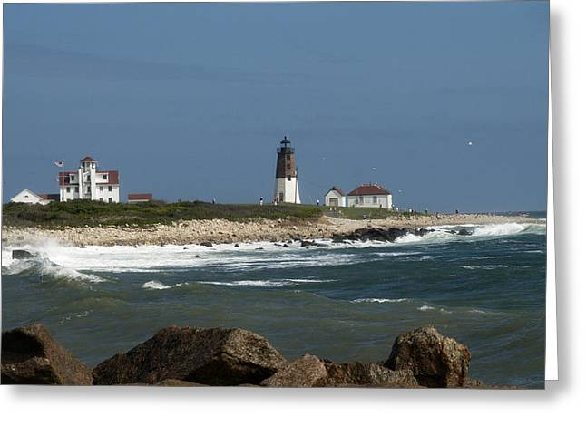 Best Sellers -  - Summer Storm Greeting Cards - Old New England Lighthouse Greeting Card by Barry Doherty