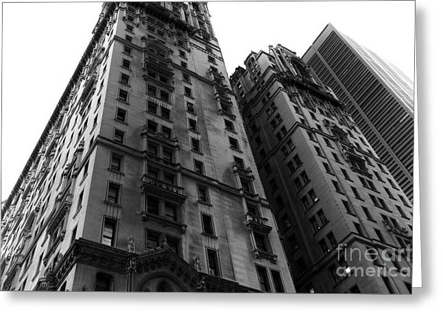 Old And New Architecture Greeting Cards - Old New York Design mono Greeting Card by John Rizzuto