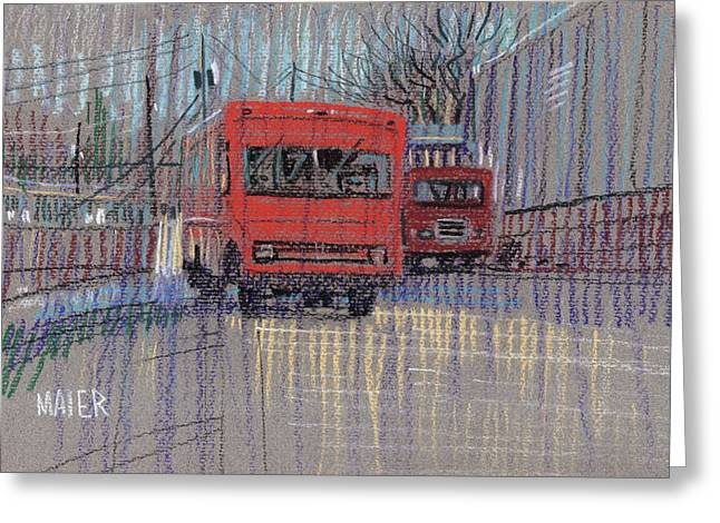 Delivery Greeting Cards - Old Newspaper Delivery Trucks Greeting Card by Donald Maier