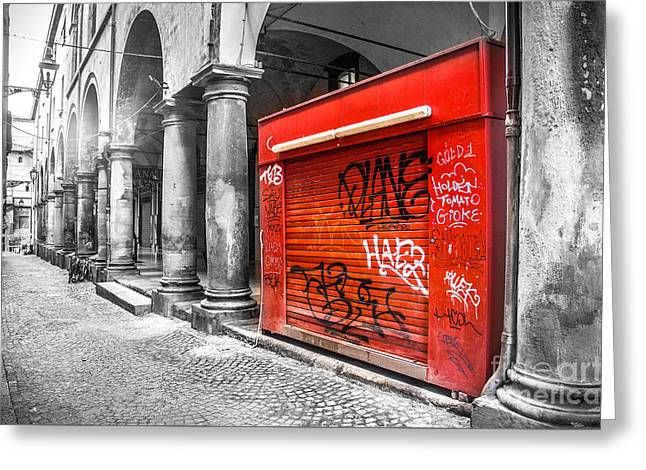 Old Newsstand Closed In Bologna Canvas - Technique Of Selective Color -  Black And White Only Red Greeting Card by Luca Lorenzelli