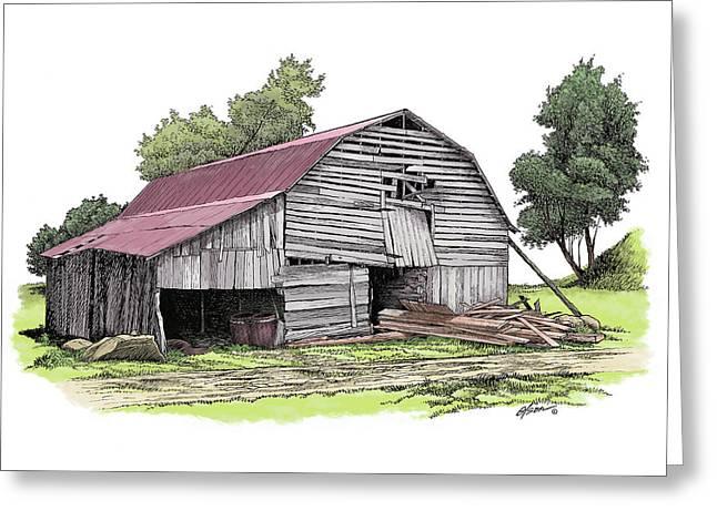 Old North Carolina Barn Greeting Card by Dave Olson