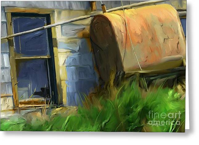old oil tank P.E.I. Greeting Card by Bob Salo