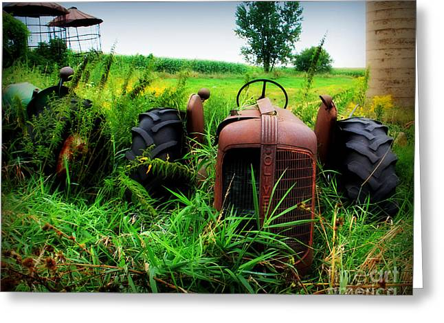 Tractor Tire Greeting Cards - Old Oliver Greeting Card by Perry Webster