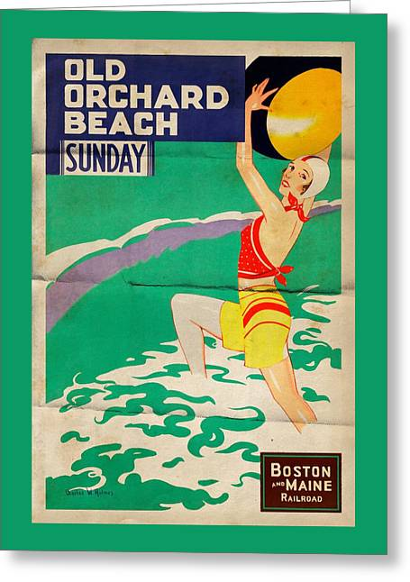 Old Orchard Beach - Folded Greeting Card by Vintage Advertising Posters