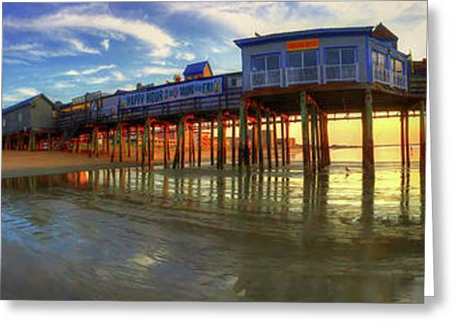 Old Orchard Beach Pier At Sunrise - Maine Greeting Card by Joann Vitali