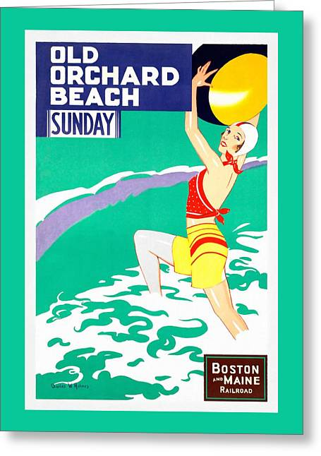 Maine Beach Mixed Media Greeting Cards - Old Orchard Beach - Restored Greeting Card by Vintage Advertising Posters