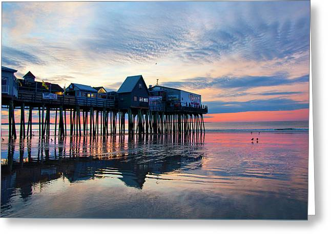 Old Orchard Beach Sunrise - Maine Greeting Card by Joann Vitali