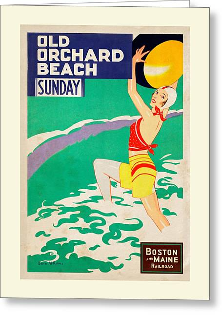 Maine Beach Mixed Media Greeting Cards - Old Orchard Beach - Vintagelized Greeting Card by Vintage Advertising Posters