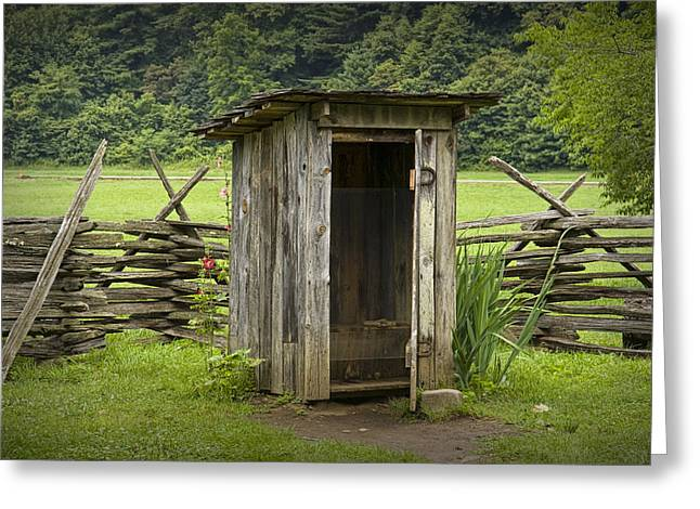Smokey Mountains Greeting Cards - Old Outhouse on a Farm in the Smokey Mountains Greeting Card by Randall Nyhof