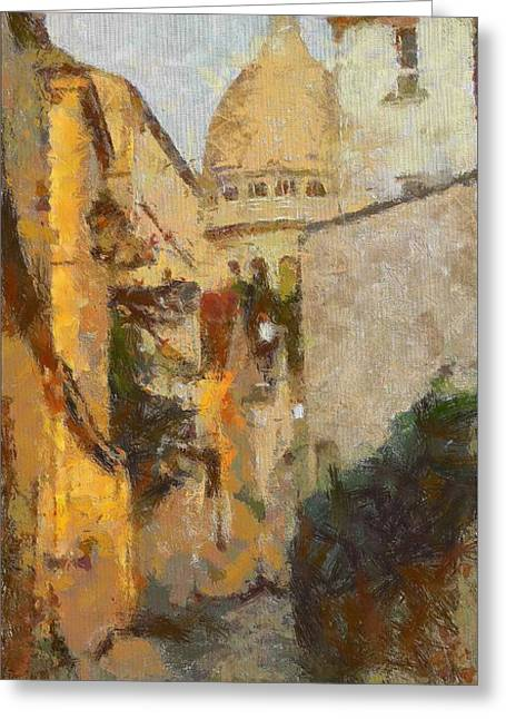 Coloured Greeting Cards - Old Paris- Rue Saint Rustique Greeting Card by Dragica  Micki Fortuna
