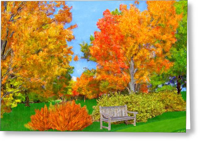 Lawn Chair Greeting Cards - Old Park Bench in Autumn Greeting Card by Bruce Nutting