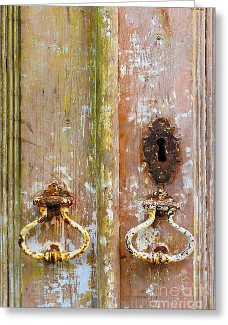 Old Peeling Door Greeting Card by Carlos Caetano