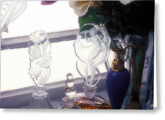 Old Perfume Bottles Greeting Card by Garry Gay