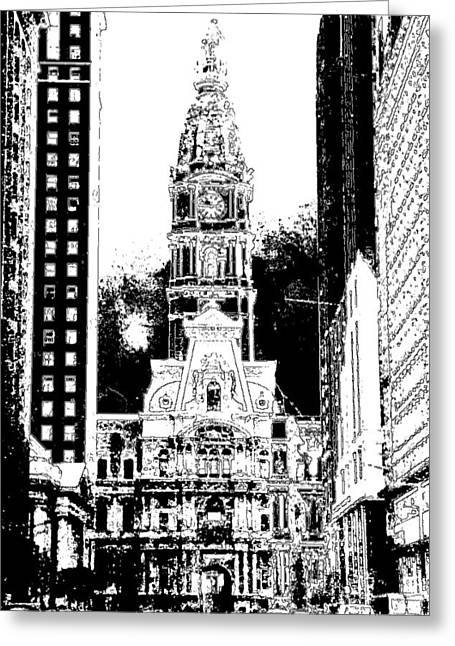 Phillies Mixed Media Greeting Cards - Old Philadelphia City Hall - Ink Drawing Greeting Card by Peter Fine Art Gallery  - Paintings Photos Digital Art