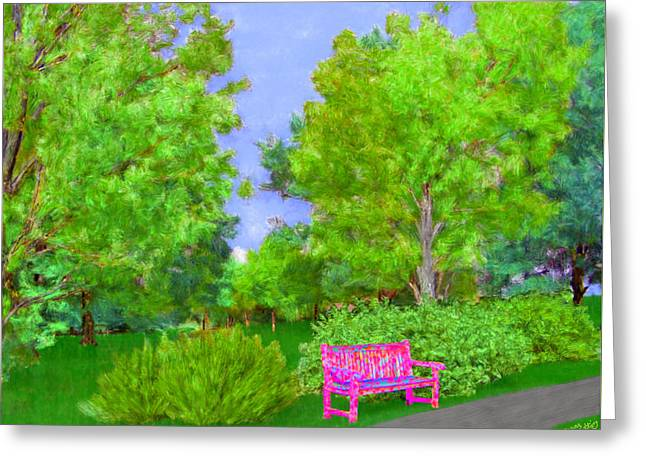 Lawn Chair Greeting Cards - Old Pink Park Bench in the Spring Greeting Card by Bruce Nutting