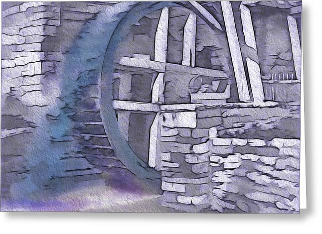 Historical Re-enactments Mixed Media Greeting Cards - Old Pioneer Mill - Water Wheel Greeting Card by Steve Ohlsen