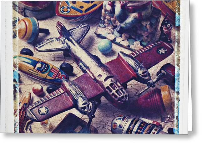 Old plane and other toys Greeting Card by Garry Gay