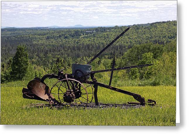 Maine Agriculture Greeting Cards - Old Plow With a View Greeting Card by William Tasker