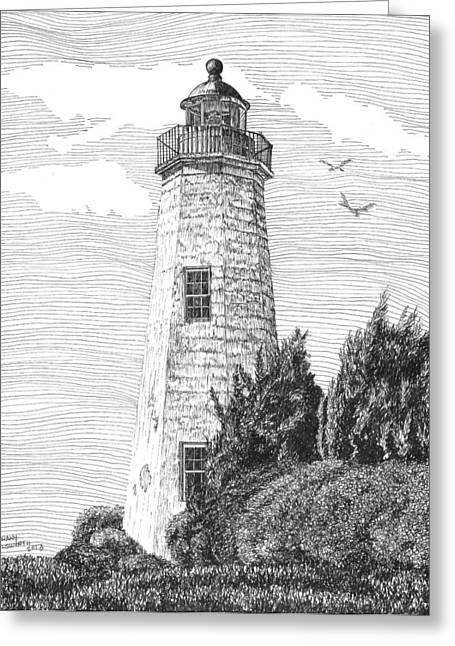 Hamptons Drawings Greeting Cards - Old Point Comfort Lighthouse Greeting Card by Stephany Elsworth