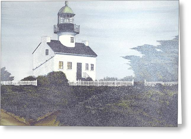 Old Point Loma Lighthouse Greeting Card by James Lyman