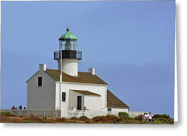 California Lighthouse Greeting Cards - Old Point Loma Lighthouse San Diego California Greeting Card by Christine Till