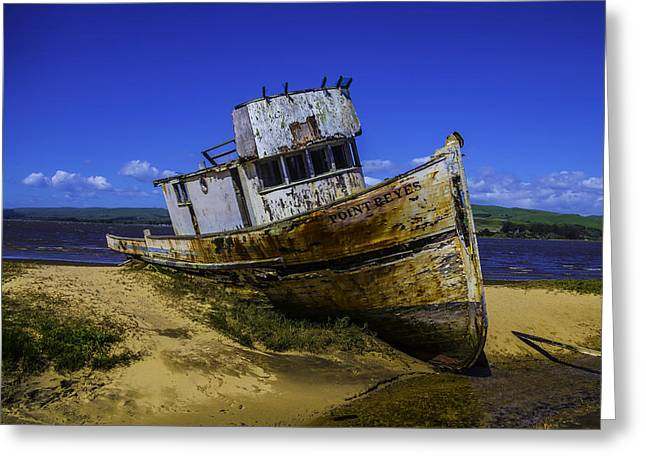 Old Point Reyes Boat Greeting Card by Garry Gay
