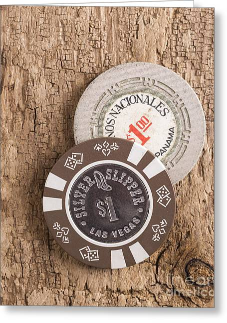 Gambler Greeting Cards - Old Poker Chips Greeting Card by Edward Fielding