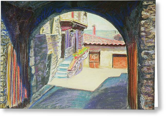 Stone House Pastels Greeting Cards - Old porch Greeting Card by Aymeric NOA