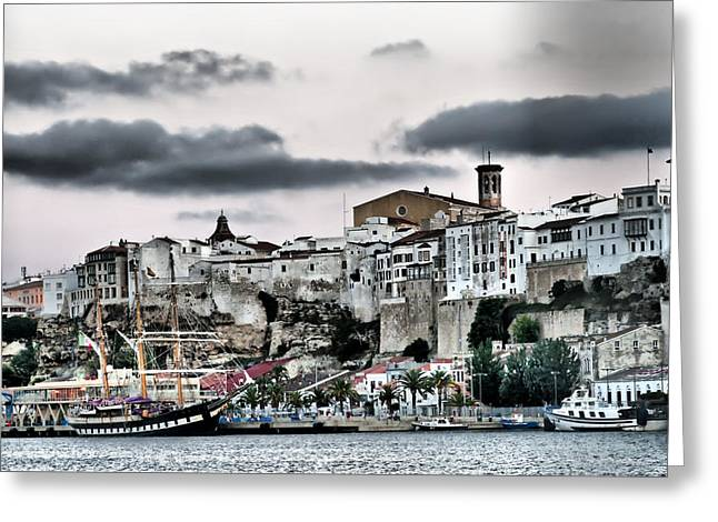 Docked Sailboats Greeting Cards - Old port Mahon and Italian sail training vessel Palinuro hdr Greeting Card by Pedro Cardona